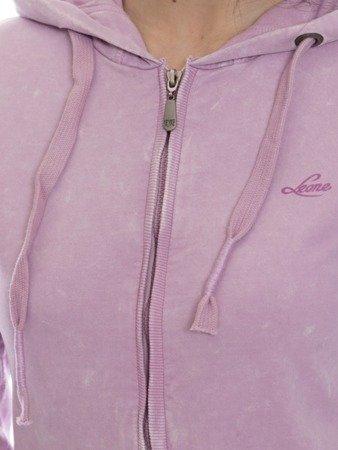 LEONE damska bluza na zamek z kapturem liliowy XS [LW1758]