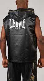 Leone1947 szlafrok bokserski, krótki z kapturem czarny rozmiar S/M [AB261]